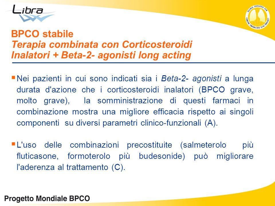 Nei pazienti in cui sono indicati sia i Beta-2- agonisti a lunga durata d'azione che i corticosteroidi inalatori (BPCO grave, molto grave), la sommini