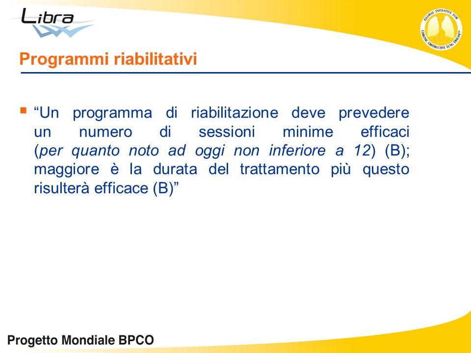 Programmi riabilitativi Un programma di riabilitazione deve prevedere un numero di sessioni minime efficaci (per quanto noto ad oggi non inferiore a 1