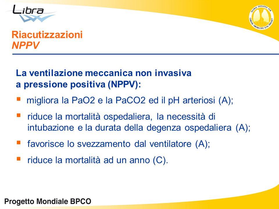 La ventilazione meccanica non invasiva a pressione positiva (NPPV): migliora la PaO2 e la PaCO2 ed il pH arteriosi (A); riduce la mortalità ospedalier