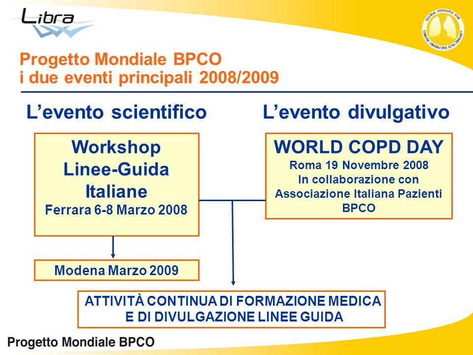 Workshop Linee-Guida Italiane Ferrara 6-8 Marzo 2008 Progetto Mondiale BPCO i due eventi principali 2008/2009 WORLD COPD DAY Roma 19 Novembre 2008 In