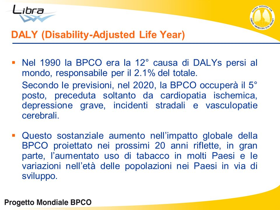 DALY (Disability-Adjusted Life Year) Nel 1990 la BPCO era la 12° causa di DALYs persi al mondo, responsabile per il 2.1% del totale.
