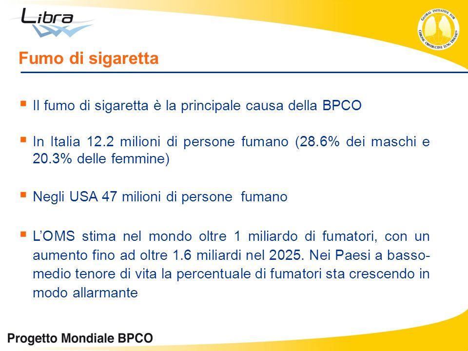 Il fumo di sigaretta è la principale causa della BPCO In Italia 12.2 milioni di persone fumano (28.6% dei maschi e 20.3% delle femmine) Negli USA 47 m