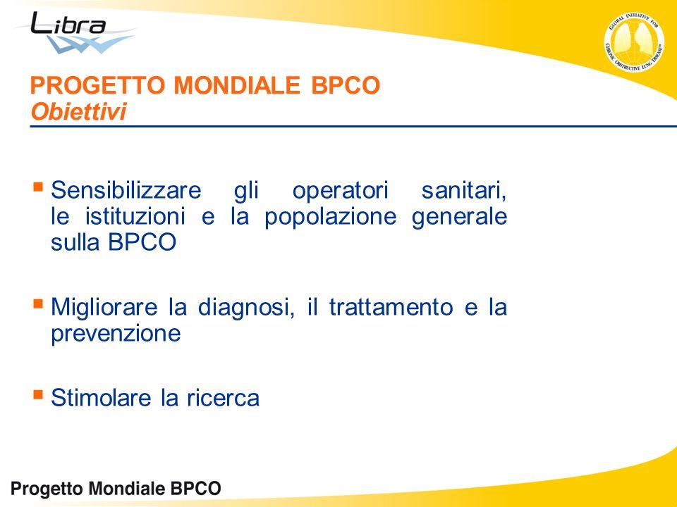 Sensibilizzare gli operatori sanitari, le istituzioni e la popolazione generale sulla BPCO Migliorare la diagnosi, il trattamento e la prevenzione Sti