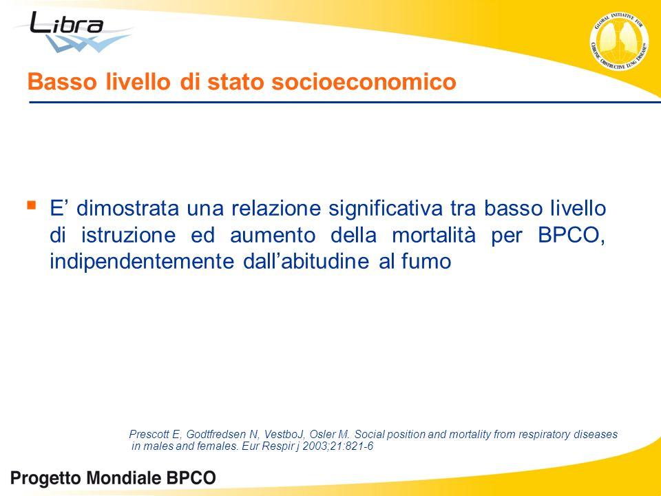 Basso livello di stato socioeconomico E dimostrata una relazione significativa tra basso livello di istruzione ed aumento della mortalità per BPCO, in