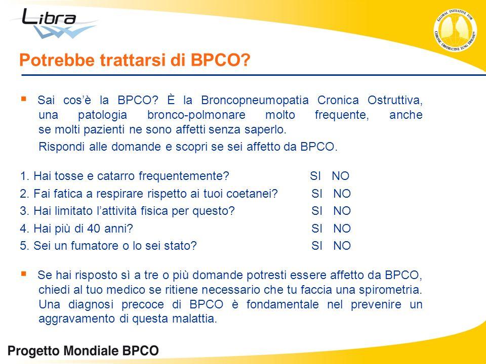 Potrebbe trattarsi di BPCO? Sai cosè la BPCO? È la Broncopneumopatia Cronica Ostruttiva, una patologia bronco-polmonare molto frequente, anche se molt