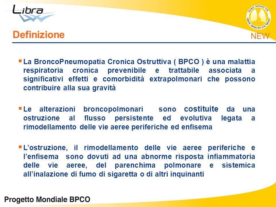 Definizione La BroncoPneumopatia Cronica Ostruttiva ( BPCO ) è una malattia respiratoria cronica prevenibile e trattabile associata a significativi ef