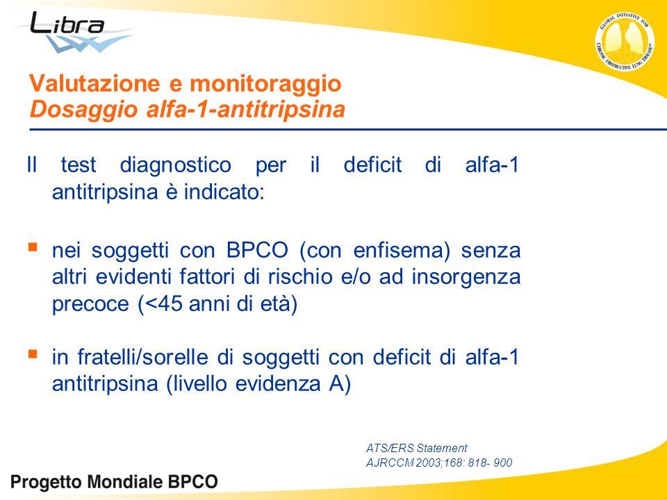 Il test diagnostico per il deficit di alfa-1 antitripsina è indicato: nei soggetti con BPCO (con enfisema) senza altri evidenti fattori di rischio e/o