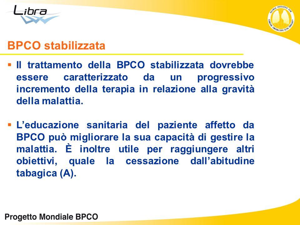 Il trattamento della BPCO stabilizzata dovrebbe essere caratterizzato da un progressivo incremento della terapia in relazione alla gravità della malat