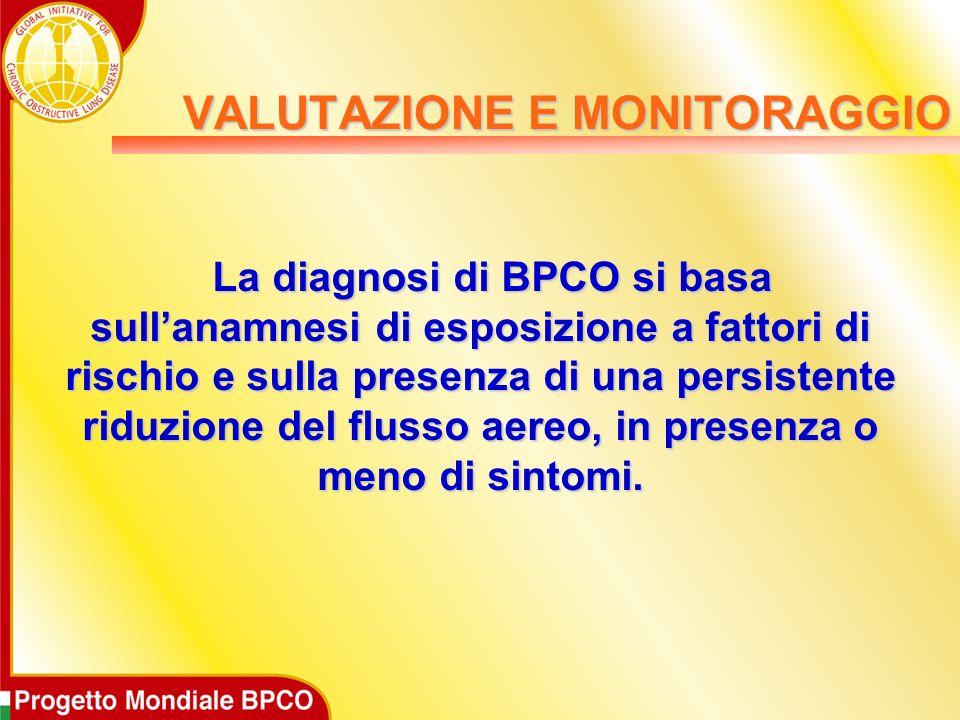 La diagnosi di BPCO si basa sullanamnesi di esposizione a fattori di rischio e sulla presenza di una persistente riduzione del flusso aereo, in presenza o meno di sintomi.