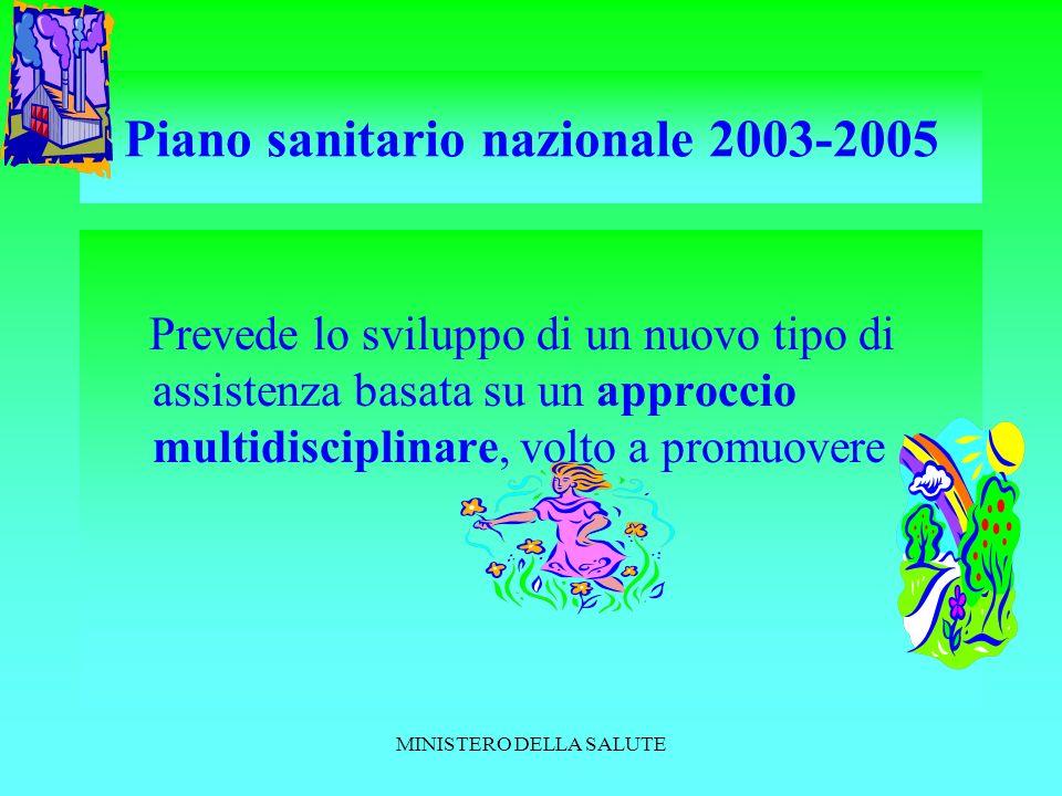 MINISTERO DELLA SALUTE Piano sanitario nazionale 2003-2005 Prevede lo sviluppo di un nuovo tipo di assistenza basata su un approccio multidisciplinare, volto a promuovere