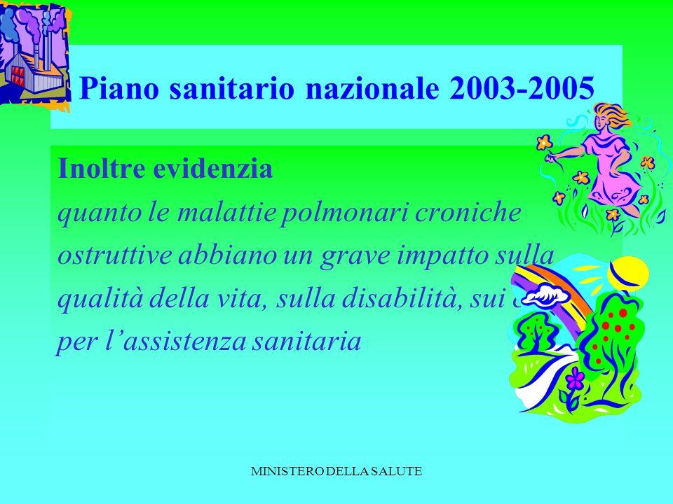 MINISTERO DELLA SALUTE Piano sanitario nazionale 2003-2005 Inoltre evidenzia quanto le malattie polmonari croniche ostruttive abbiano un grave impatto sulla qualità della vita, sulla disabilità, sui costi per lassistenza sanitaria