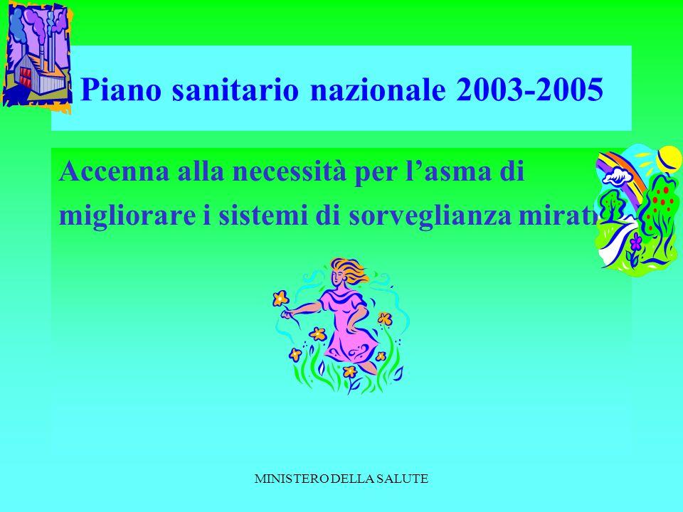 MINISTERO DELLA SALUTE Piano sanitario nazionale 2003-2005 Accenna alla necessità per lasma di migliorare i sistemi di sorveglianza mirati a