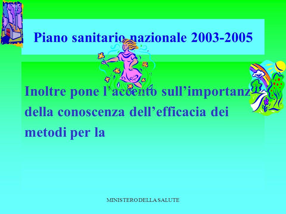 MINISTERO DELLA SALUTE Piano sanitario nazionale 2003-2005 Inoltre pone laccento sullimportanza della conoscenza dellefficacia dei metodi per la