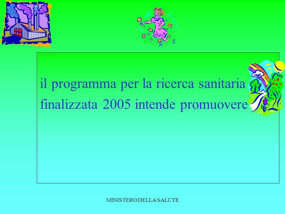 MINISTERO DELLA SALUTE il programma per la ricerca sanitaria finalizzata 2005 intende promuovere