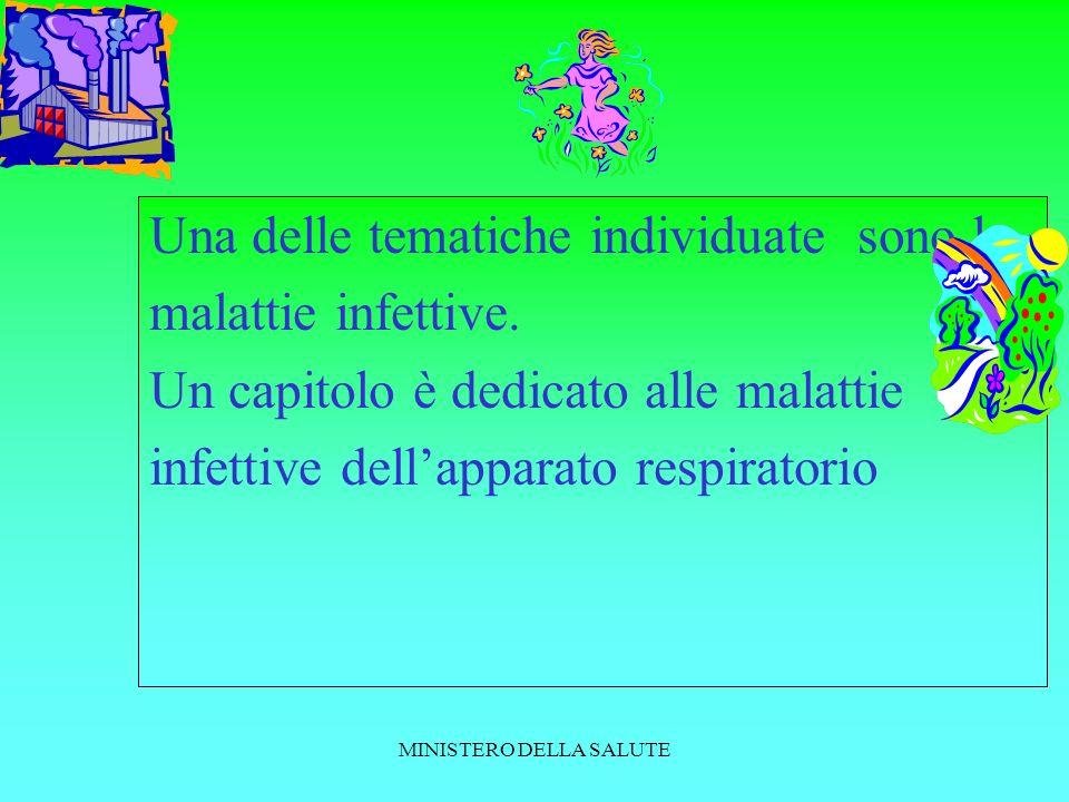 MINISTERO DELLA SALUTE Una delle tematiche individuate sono le malattie infettive.