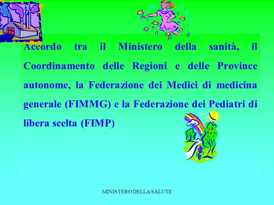 MINISTERO DELLA SALUTE Accordo tra il Ministero della sanità, il Coordinamento delle Regioni e delle Province autonome, la Federazione dei Medici di medicina generale (FIMMG) e la Federazione dei Pediatri di libera scelta (FIMP)