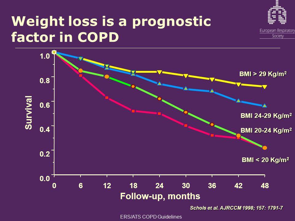 0612182430364248 0.0 0.2 0.4 0.6 0.8 1.0 Survival Follow-up, months BMI > 29 Kg/m 2 BMI 24-29 Kg/m 2 BMI 20-24 Kg/m 2 BMI < 20 Kg/m 2 Weight loss is a