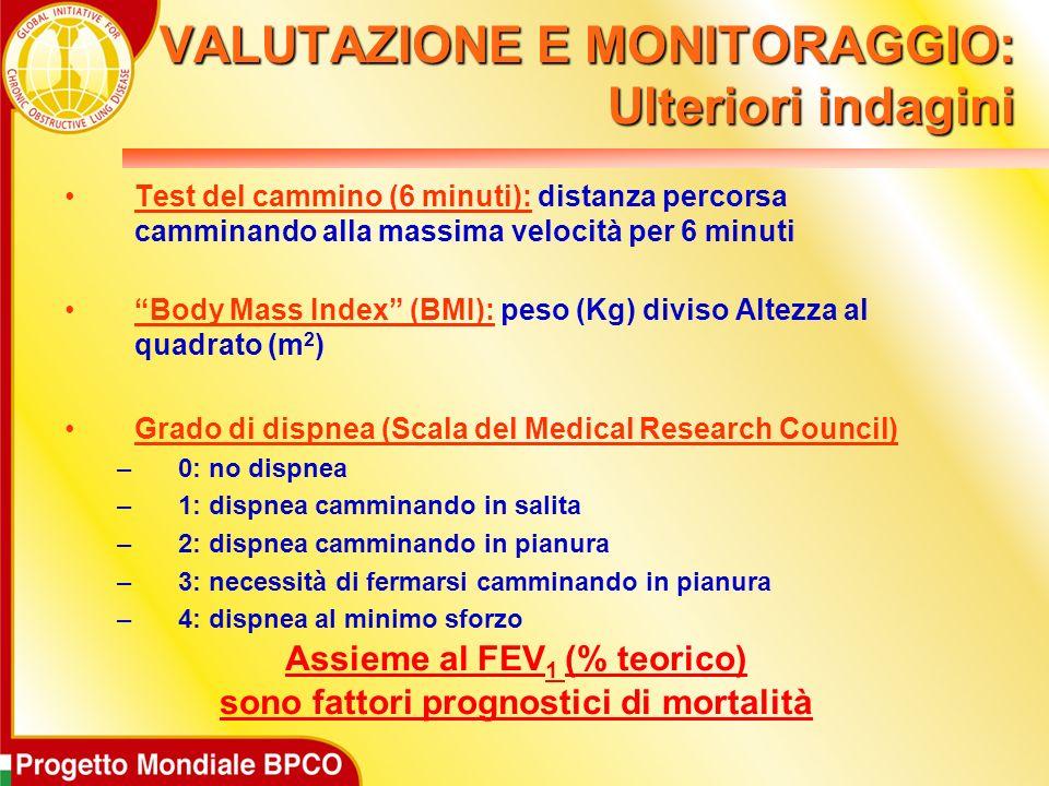 VALUTAZIONE E MONITORAGGIO: Ulteriori indagini Test del cammino (6 minuti): distanza percorsa camminando alla massima velocità per 6 minuti Body Mass