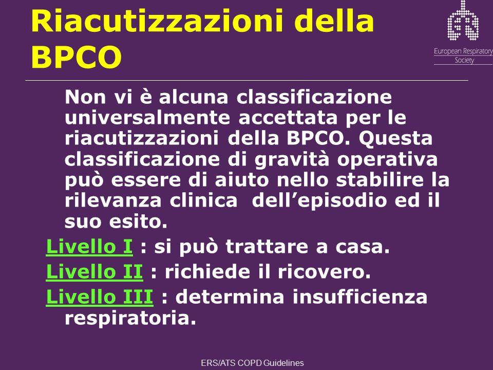 Non vi è alcuna classificazione universalmente accettata per le riacutizzazioni della BPCO. Questa classificazione di gravità operativa può essere di