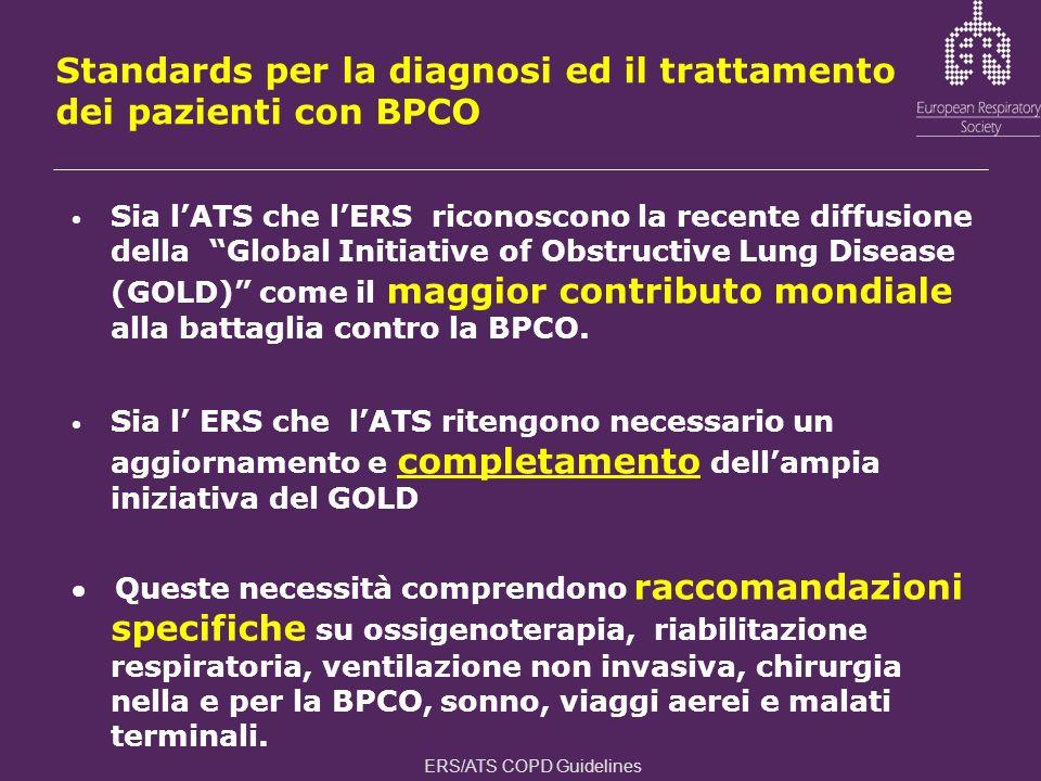 Standards per la diagnosi ed il trattamento dei pazienti con BPCO Sia lATS che lERS riconoscono la recente diffusione della Global Initiative of Obstr