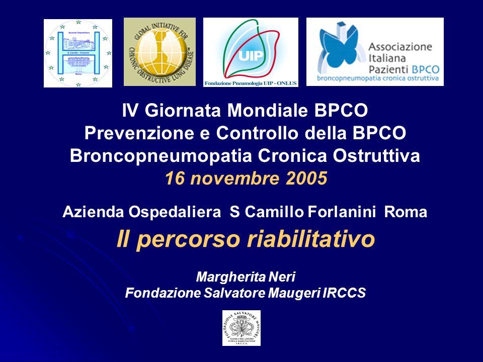 IV Giornata Mondiale BPCO Prevenzione e Controllo della BPCO Broncopneumopatia Cronica Ostruttiva 16 novembre 2005 Azienda Ospedaliera S Camillo Forla