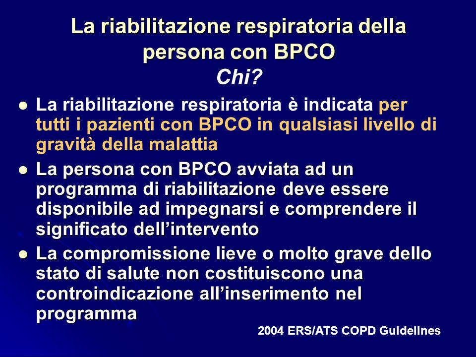 La riabilitazione respiratoria della persona con BPCO La riabilitazione respiratoria della persona con BPCO Chi? La riabilitazione respiratoria è indi
