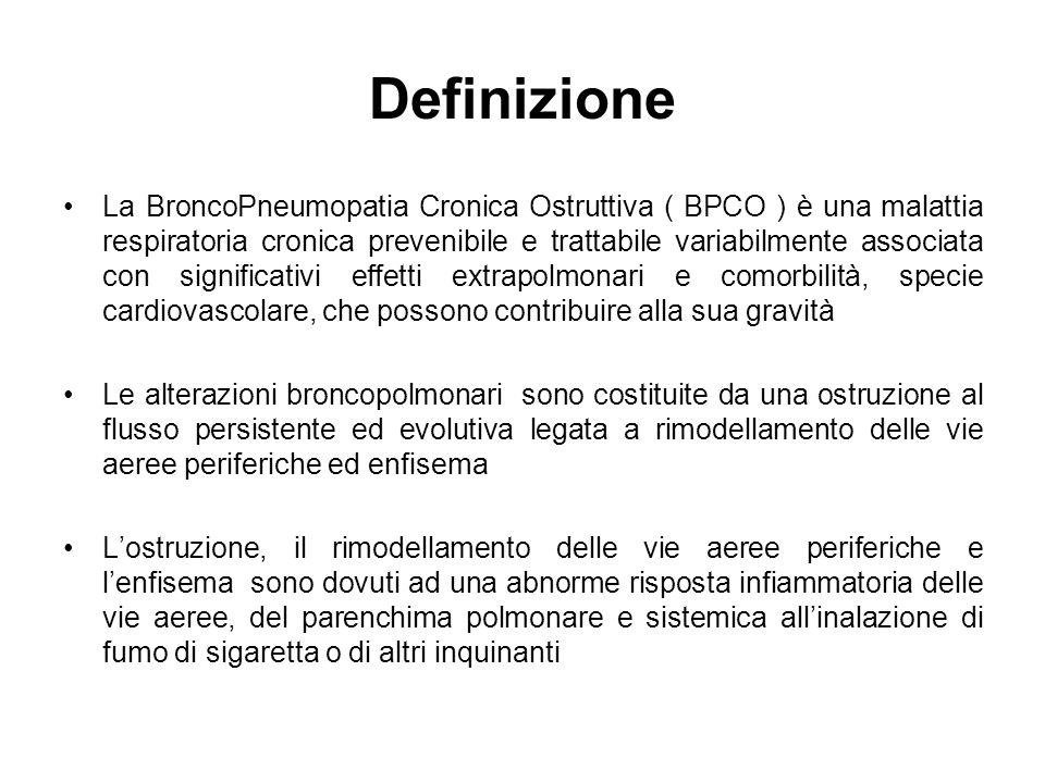 Definizione La BroncoPneumopatia Cronica Ostruttiva ( BPCO ) è una malattia respiratoria cronica prevenibile e trattabile variabilmente associata con