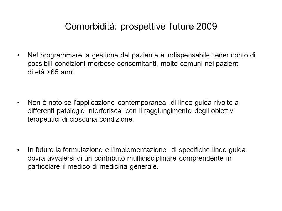 Comorbidità: prospettive future 2009 Nel programmare la gestione del paziente è indispensabile tener conto di possibili condizioni morbose concomitant