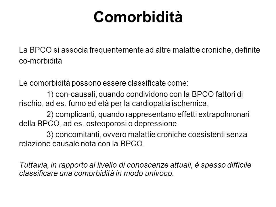 Comorbidità La BPCO si associa frequentemente ad altre malattie croniche, definite co-morbidità Le comorbidità possono essere classificate come: 1) co
