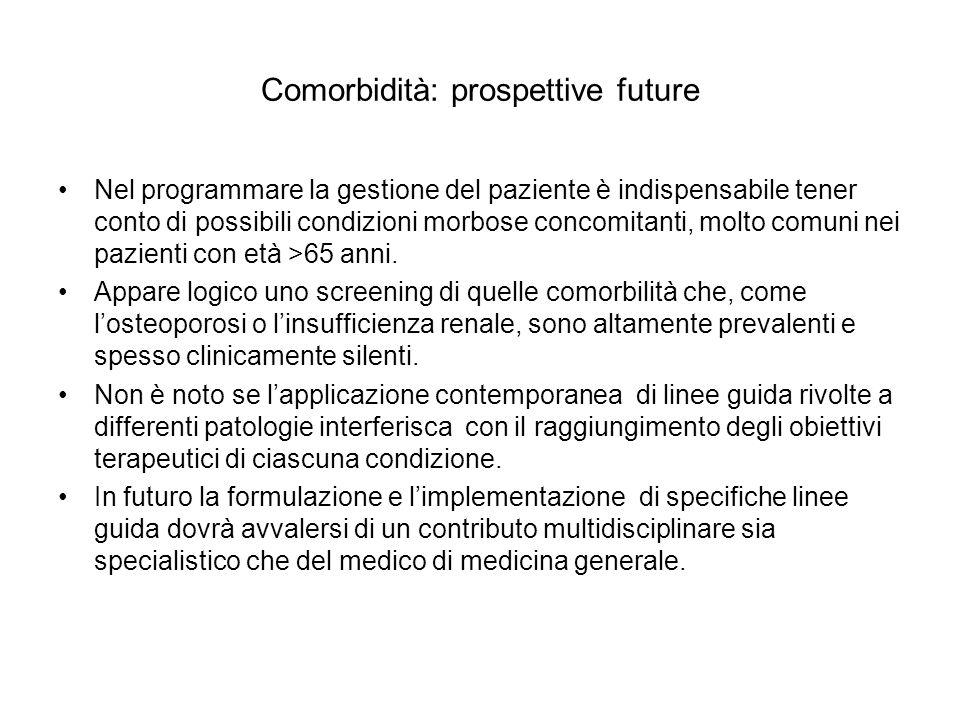 Comorbidità: prospettive future Nel programmare la gestione del paziente è indispensabile tener conto di possibili condizioni morbose concomitanti, mo