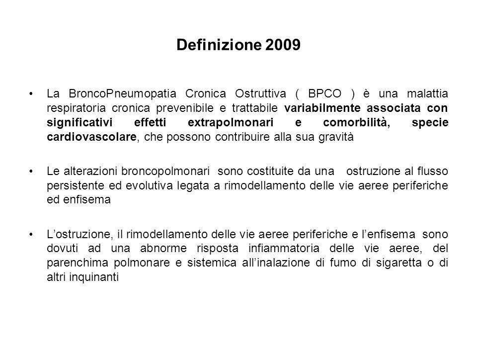 Definizione 2009 La BroncoPneumopatia Cronica Ostruttiva ( BPCO ) è una malattia respiratoria cronica prevenibile e trattabile variabilmente associata