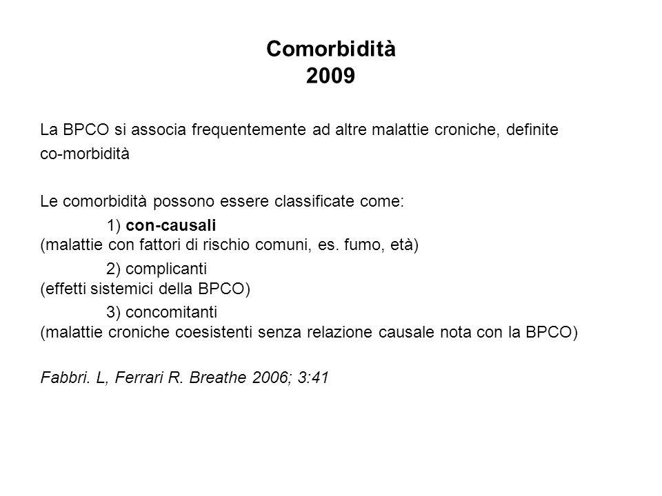 Comorbidità 2009 La BPCO si associa frequentemente ad altre malattie croniche, definite co-morbidità Le comorbidità possono essere classificate come: