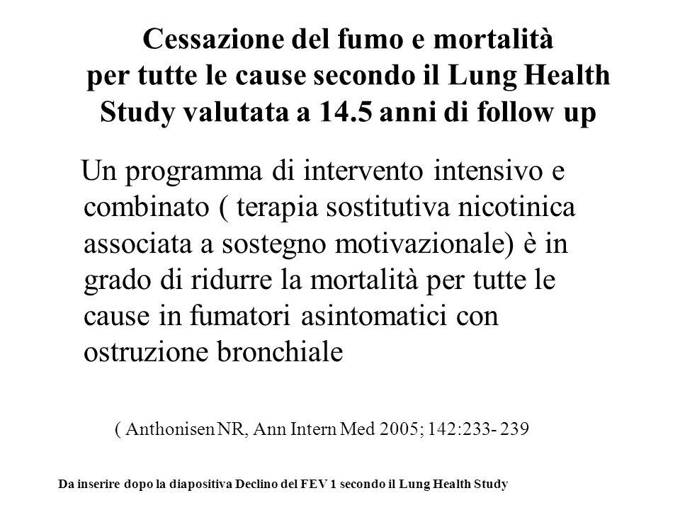Cessazione del fumo e mortalità per tutte le cause secondo il Lung Health Study valutata a 14.5 anni di follow up Un programma di intervento intensivo e combinato ( terapia sostitutiva nicotinica associata a sostegno motivazionale) è in grado di ridurre la mortalità per tutte le cause in fumatori asintomatici con ostruzione bronchiale ( Anthonisen NR, Ann Intern Med 2005; 142:233- 239 Da inserire dopo la diapositiva Declino del FEV 1 secondo il Lung Health Study