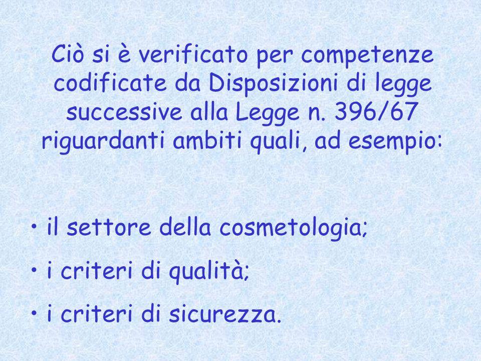 Ciò si è verificato per competenze codificate da Disposizioni di legge successive alla Legge n.
