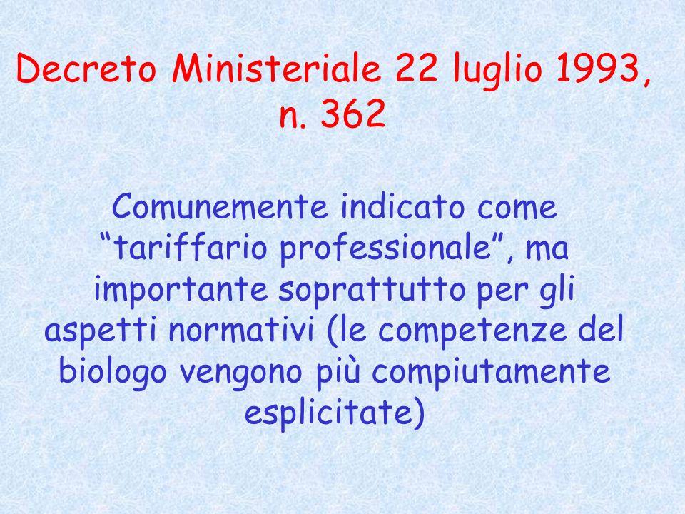 Decreto Ministeriale 22 luglio 1993, n.