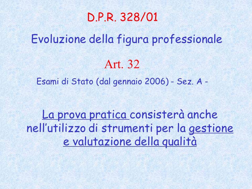 La prova pratica consisterà anche nellutilizzo di strumenti per la gestione e valutazione della qualità D.P.R.