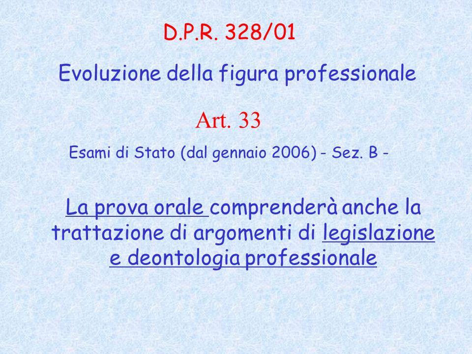 La prova orale comprenderà anche la trattazione di argomenti di legislazione e deontologia professionale D.P.R.