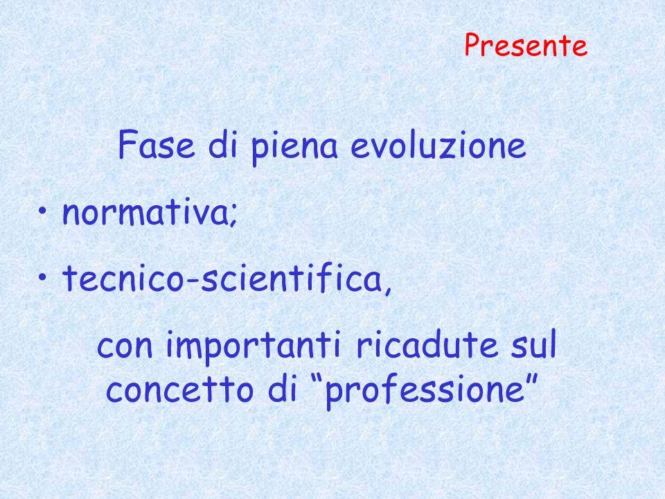 Presente Fase di piena evoluzione normativa; tecnico-scientifica, con importanti ricadute sul concetto di professione