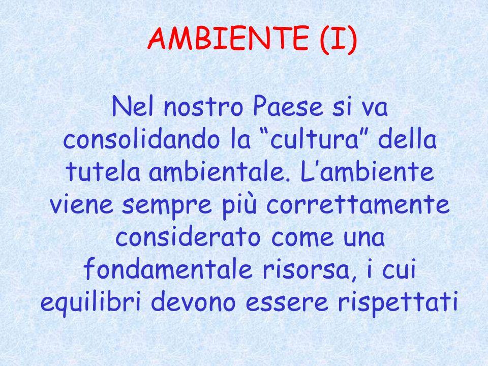 AMBIENTE (I) Nel nostro Paese si va consolidando la cultura della tutela ambientale.