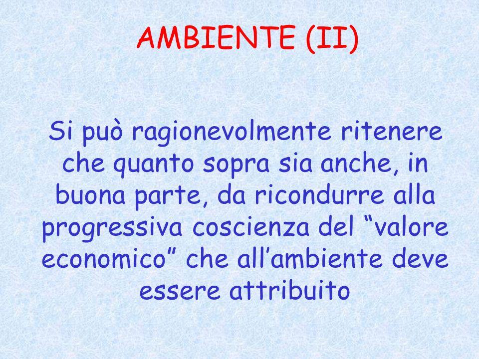 AMBIENTE (II) Si può ragionevolmente ritenere che quanto sopra sia anche, in buona parte, da ricondurre alla progressiva coscienza del valore economico che allambiente deve essere attribuito