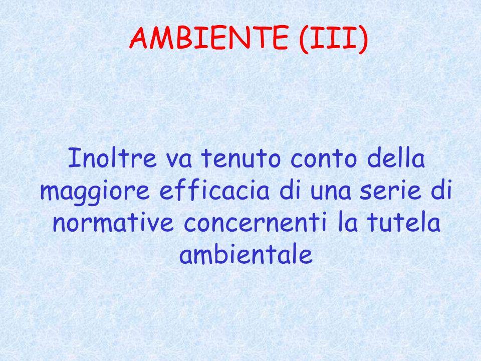 AMBIENTE (III) Inoltre va tenuto conto della maggiore efficacia di una serie di normative concernenti la tutela ambientale