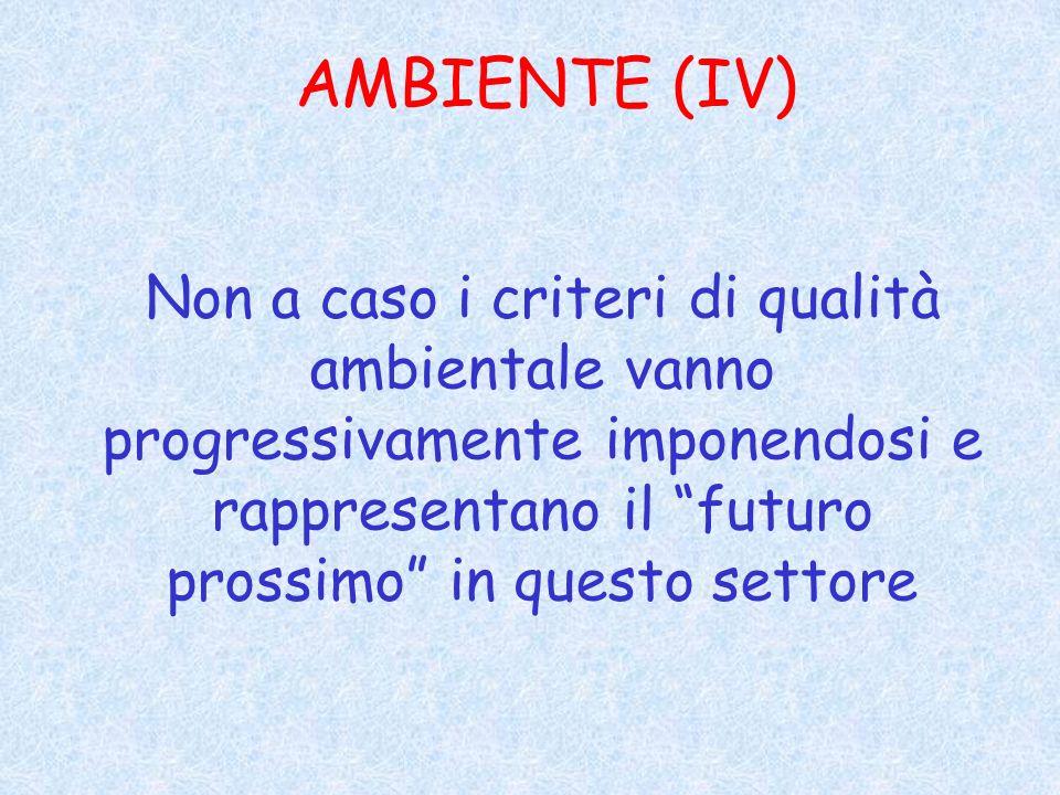 AMBIENTE (IV) Non a caso i criteri di qualità ambientale vanno progressivamente imponendosi e rappresentano il futuro prossimo in questo settore