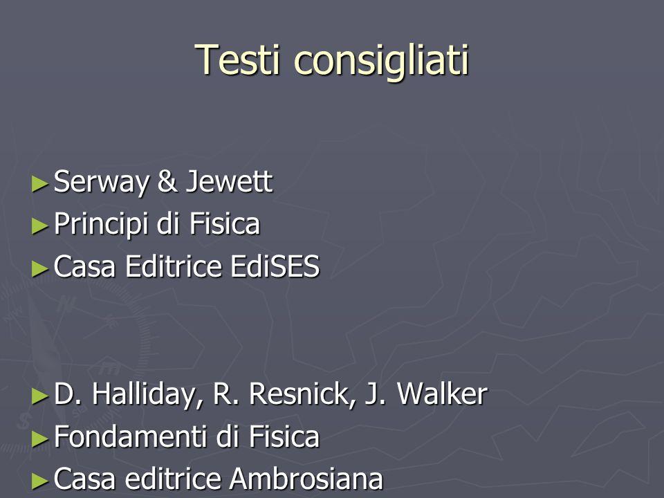 Testi consigliati Serway & Jewett Serway & Jewett Principi di Fisica Principi di Fisica Casa Editrice EdiSES Casa Editrice EdiSES D. Halliday, R. Resn
