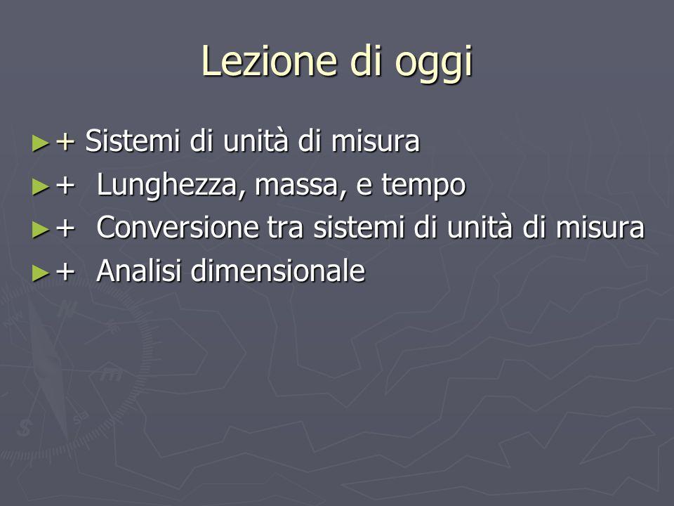 Lezione di oggi + Sistemi di unità di misura + Sistemi di unità di misura +Lunghezza, massa, e tempo +Lunghezza, massa, e tempo +Conversione tra siste