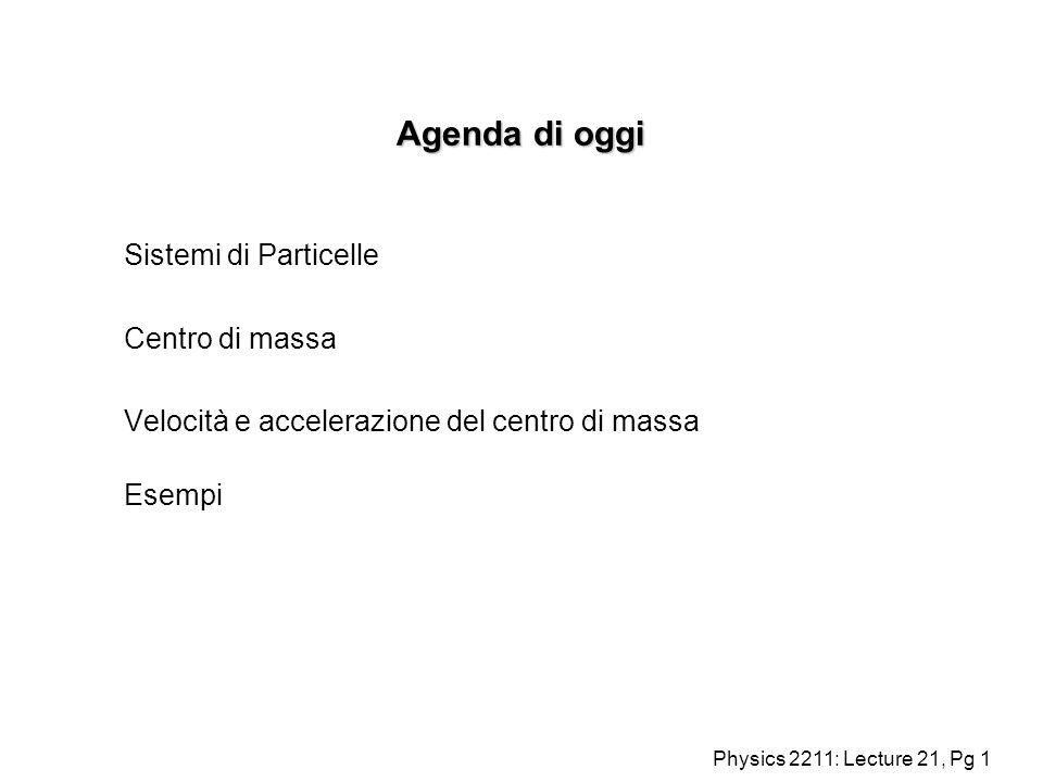 Physics 2211: Lecture 21, Pg 1 Agenda di oggi Sistemi di Particelle Centro di massa Velocità e accelerazione del centro di massa Esempi