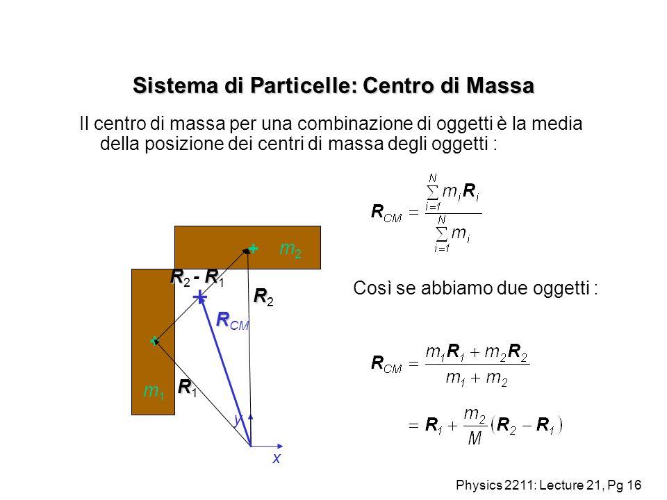 Physics 2211: Lecture 21, Pg 16 Sistema di Particelle: Centro di Massa Il centro di massa per una combinazione di oggetti è la media della posizione d