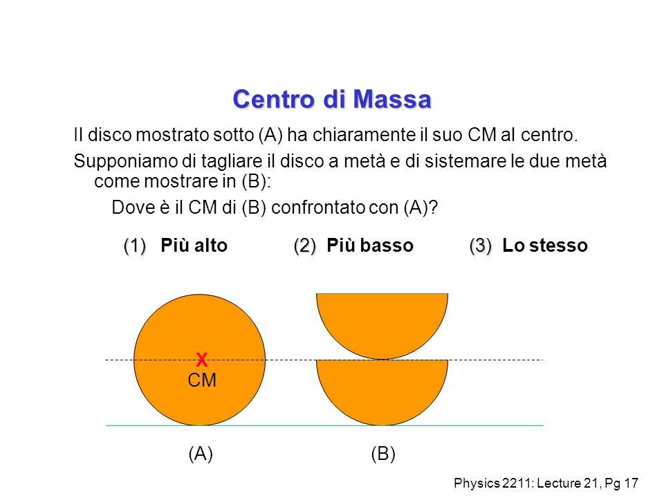 Physics 2211: Lecture 21, Pg 17 Centro di Massa Il disco mostrato sotto (A) ha chiaramente il suo CM al centro. Supponiamo di tagliare il disco a metà