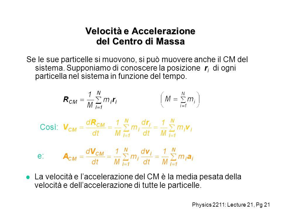 Physics 2211: Lecture 21, Pg 21 Velocità e Accelerazione del Centro di Massa r Se le sue particelle si muovono, si può muovere anche il CM del sistema