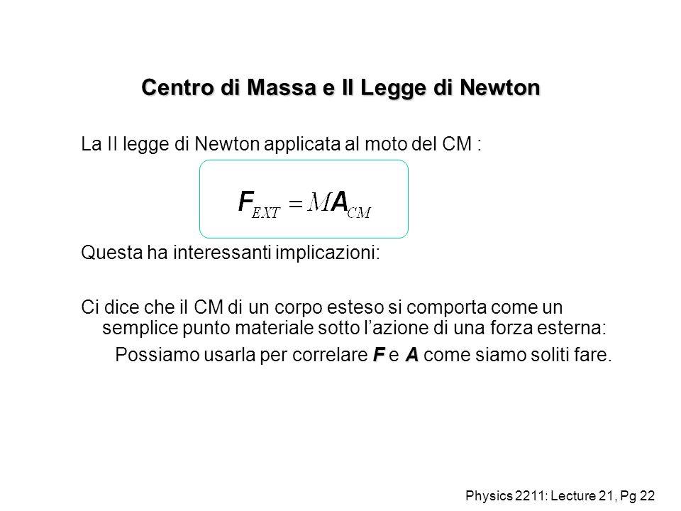 Physics 2211: Lecture 21, Pg 22 Centro di Massa e II Legge di Newton La II legge di Newton applicata al moto del CM : Questa ha interessanti implicazi
