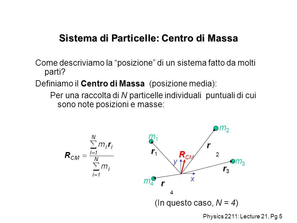 Physics 2211: Lecture 21, Pg 16 Sistema di Particelle: Centro di Massa Il centro di massa per una combinazione di oggetti è la media della posizione dei centri di massa degli oggetti : + + y x RR2RR2 RR1RR1 R R CM m1m1 m2m2 + R R R 2 - R 1 Così se abbiamo due oggetti :